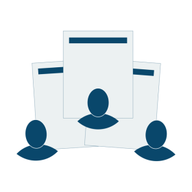 Illustration showing how multiple team members can fill out application forms at the same time.