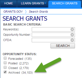 Search archived grants