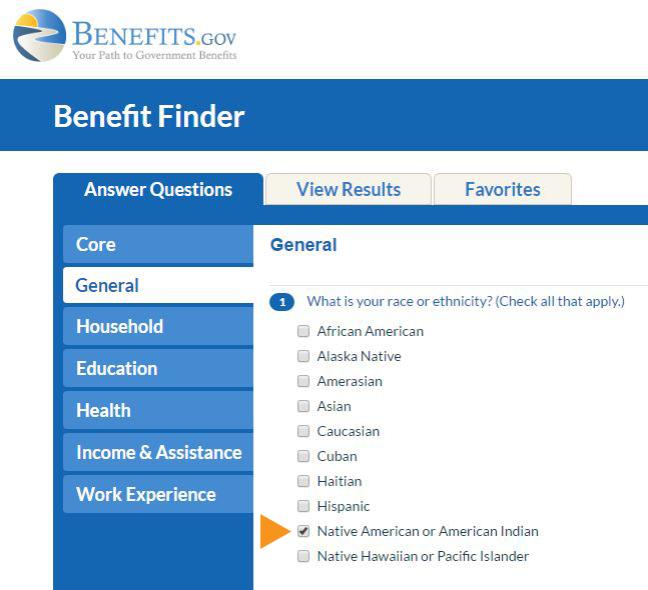 Benefits.gov Benefit Finder for Native Americans or American Indians