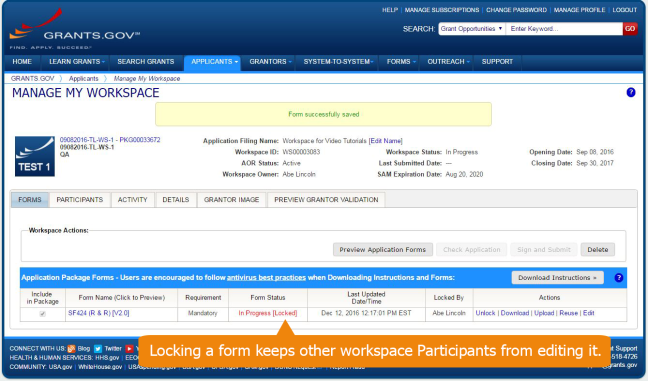 Grants.gov recommends locking the online form