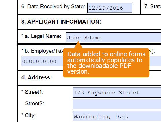 Online form data automatically populates to the PDF forms