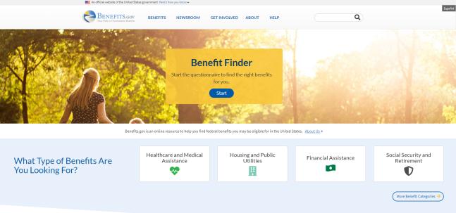 Benefits.gov Homepage