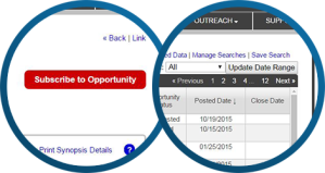Subscribe to Opportunity button