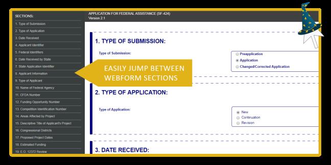 Browsing a Grants.gov Webform