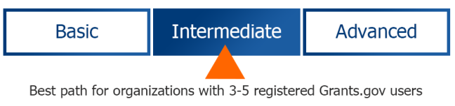 Intermediate path for Workspace. Best path for organizations with 3-5 registered Grants.gov users