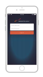 Grants.gov mobile app pilot test login page