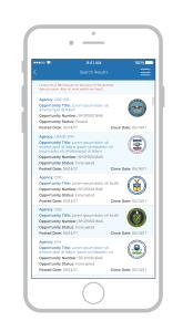 Grants.gov mobile app pilot search page