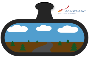 rearview mirror and Grants.gov logo
