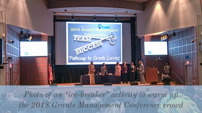 Photo of an ice-breaker activity to warm up the 2018 Grants Management Conference crowd