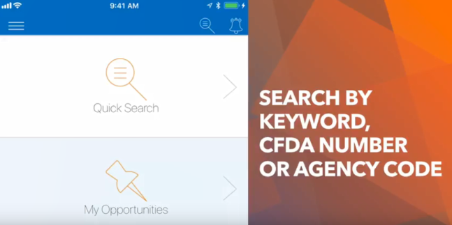 Search by keyword, CFDA number, or agency code