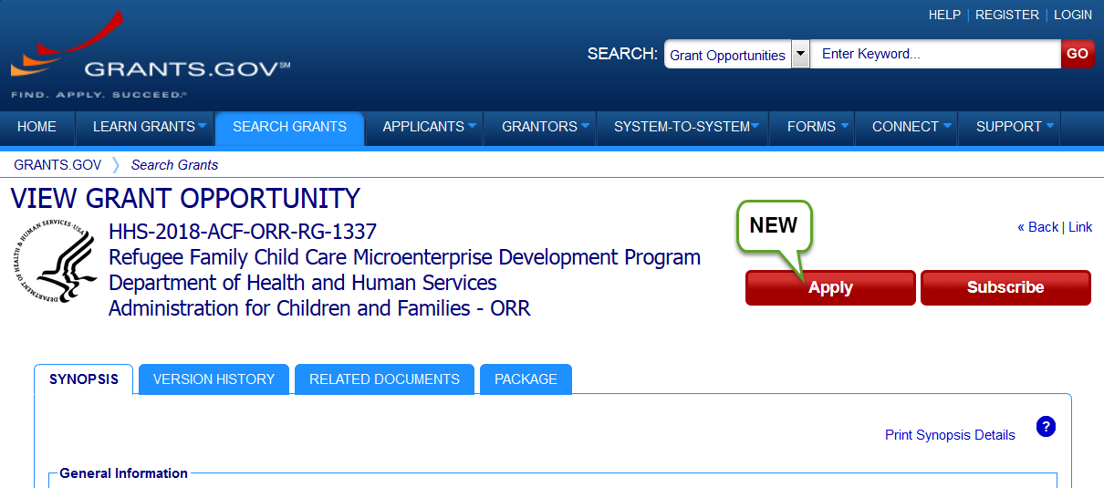 View Grant Opportunity page