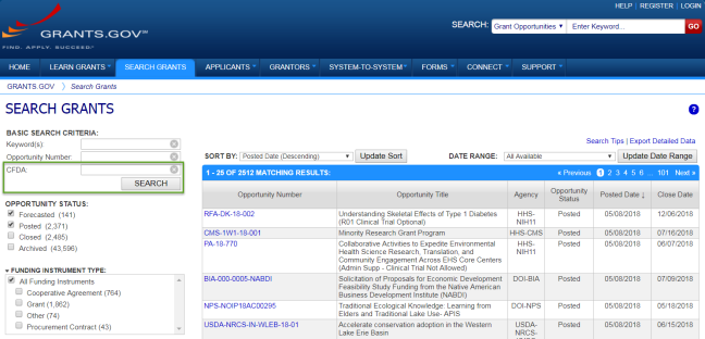 Search Grants tab with CFDA field highlighted