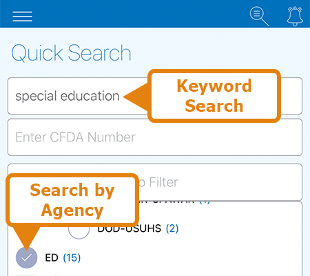 Quick Search screen of the Grants.gov Mobile App. Enter a keyword to search.