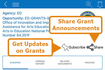 Grants.gov Mobile App funding opportunity screen. Click the Share button to share the announcement with others.
