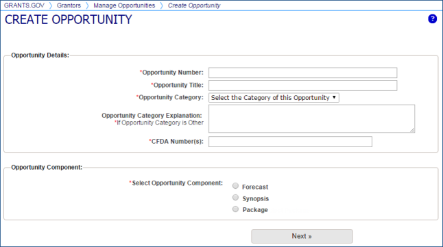 Create Opportunity page