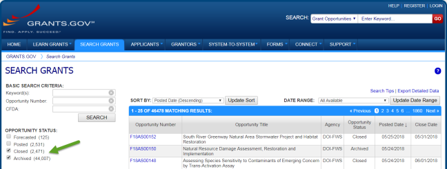 Search Grants page highlighting the Closed and Archived options under the Opportunity Status heading