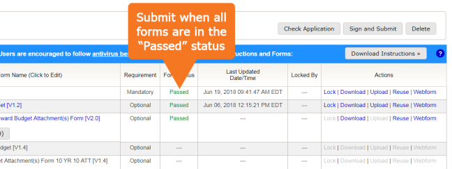 "Submit when all forms are in the ""Passed"" status"
