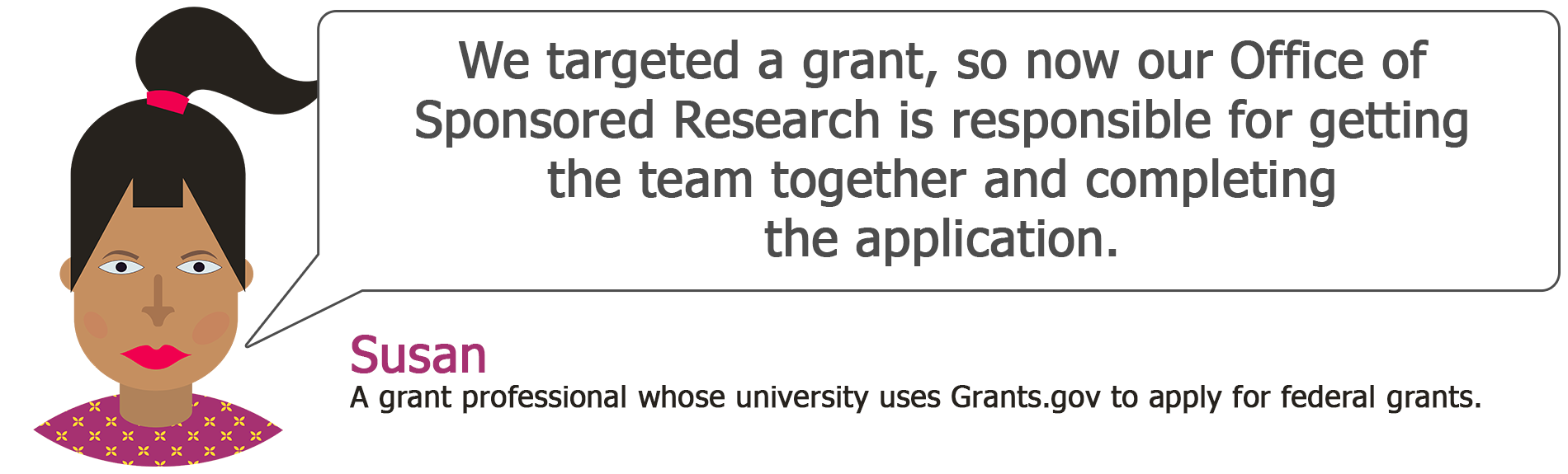 Susan user story: We targeted a grant, so now our Office of Sponsored Research is responsible for getting the team together and completing the application.