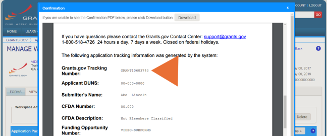 Grants.gov Tracking Number on the submission confirmation page