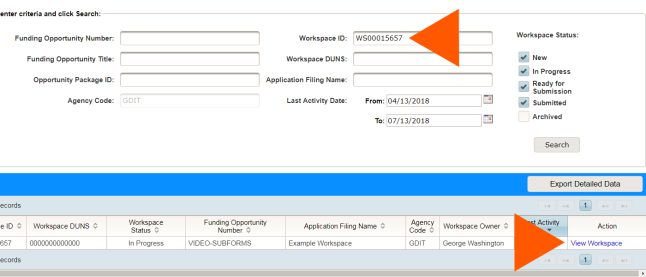 Workspace Report page with the Workspace ID field highlighted