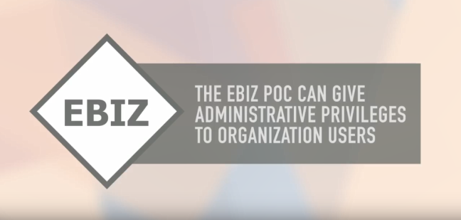 The EBiz POC can give administrative privileges to organization users