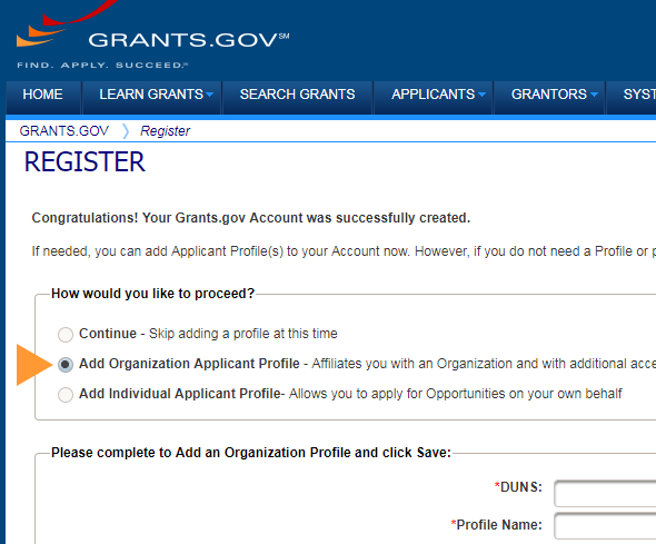 Add Organization Applicant Profile