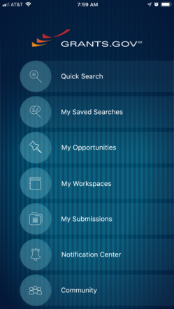 Grants.gov App - Explore Screen