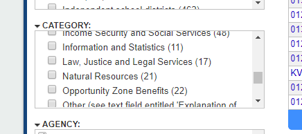 Opportunity Zone Benefits category in Grants.gov Search