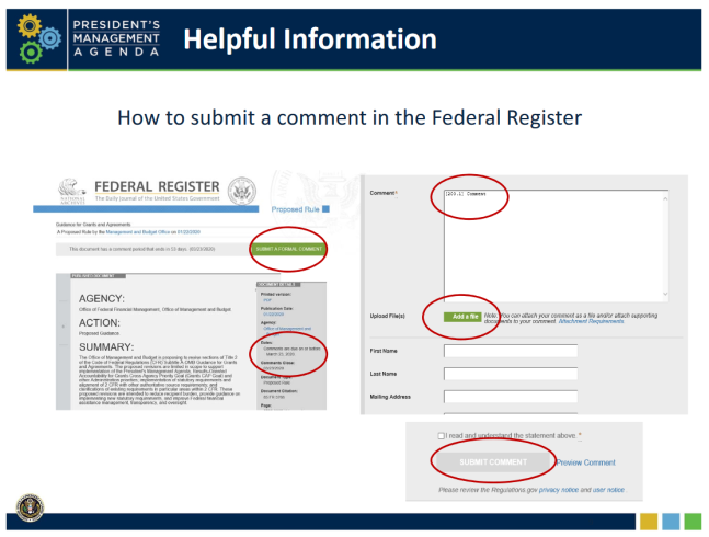 Submitting a comment about proposed revisions to Title 2 of the Code of Federal Regulations