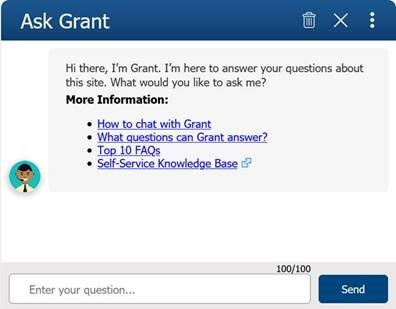 Grants.gov Chatbot Screen